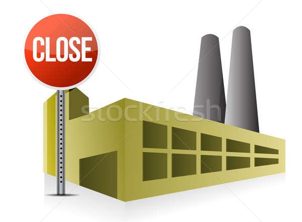 Zárt gyár ház modell otthon piros Stock fotó © alexmillos