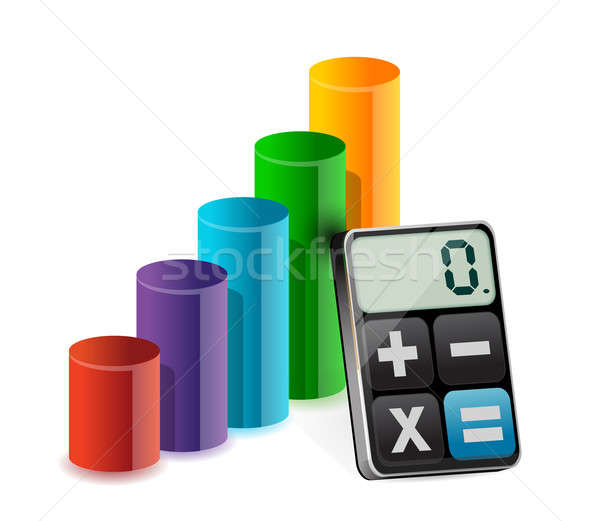 business graph and modern calculator illustration design over wh Stock photo © alexmillos