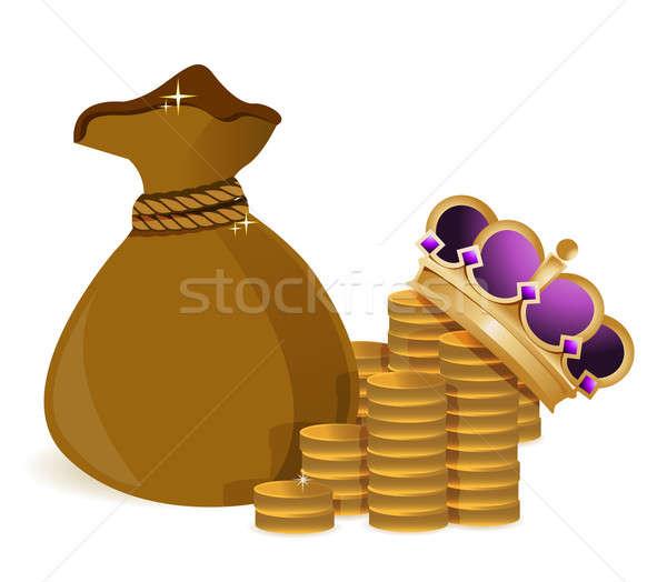 Coins money bag and royal crown Stock photo © alexmillos