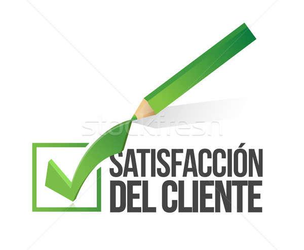 Spanish, customer satisfaction checkmark, pencil Stock photo © alexmillos