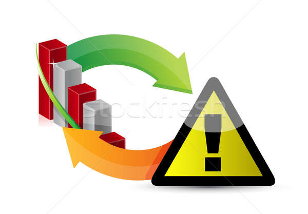 Warning sign with a failing business graph cycle  Stock photo © alexmillos