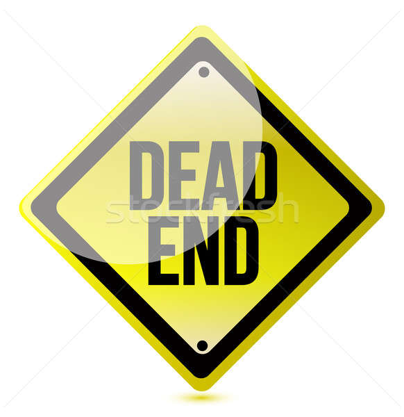 Warning sign with the words Dead End Stock photo © alexmillos