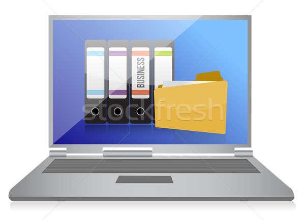 Dizüstü bilgisayar klasörler iş bilgisayar toprak izlemek Stok fotoğraf © alexmillos