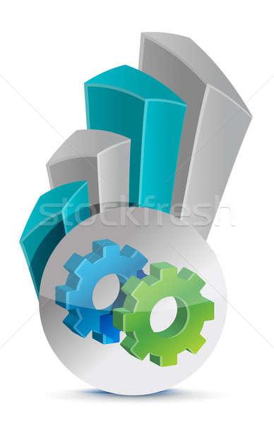 Viselet üzleti grafikon absztrakt ipar pénzügy ipari Stock fotó © alexmillos