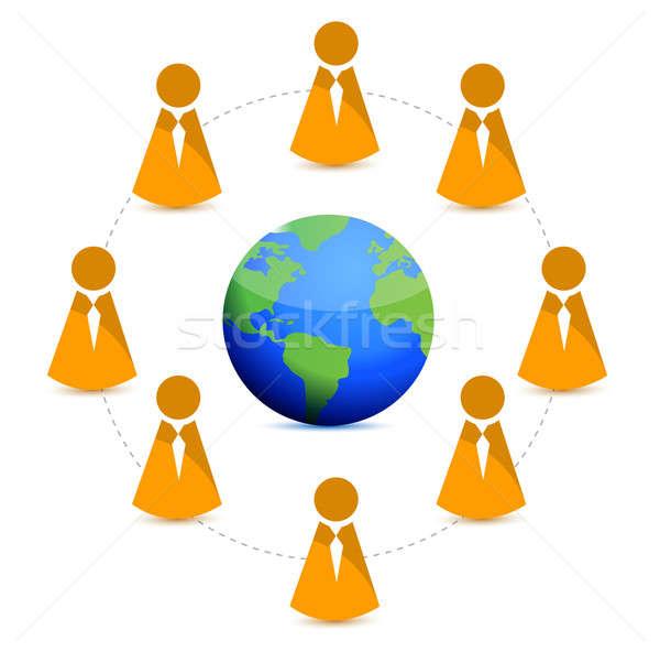мира Бизнес-сеть рук человека толпа земле Сток-фото © alexmillos