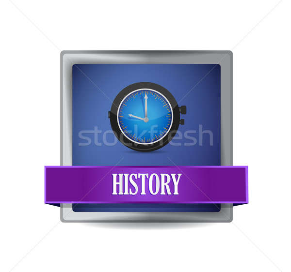 History icon on glossy blue button illustration Stock photo © alexmillos