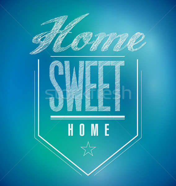 blue and green Vintage Home Sweet Home Sign poster illustration Stock photo © alexmillos