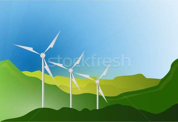wind turbines blue sky illustration design Stock photo © alexmillos