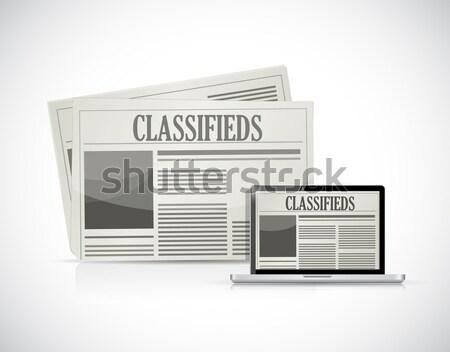 Stock fotó: újságok · technológia · szerszámok · illusztráció · terv · fehér