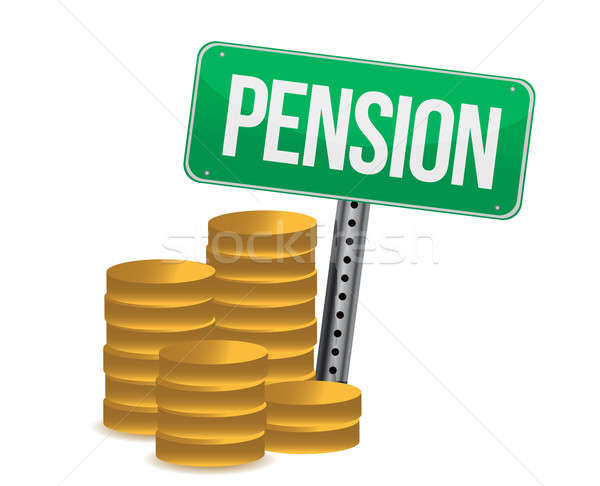 Coins and pension sign illustration design over white Stock photo © alexmillos
