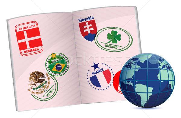globe and passport illustration design with around the world sta Stock photo © alexmillos
