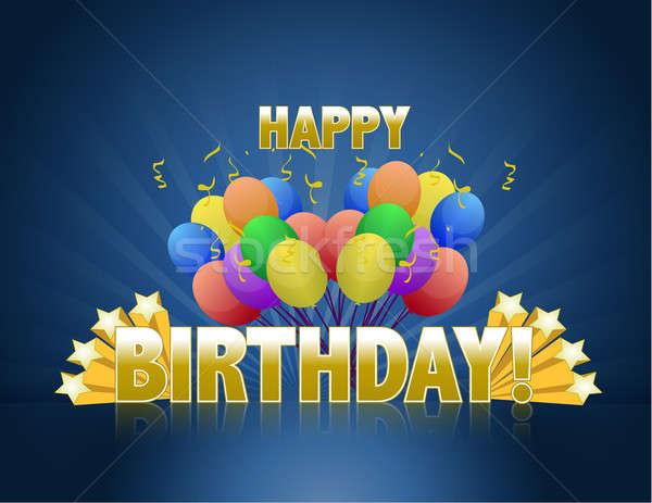 Stockfoto: Gelukkige · verjaardag · ballonnen · logo · teken · gouden · sterren