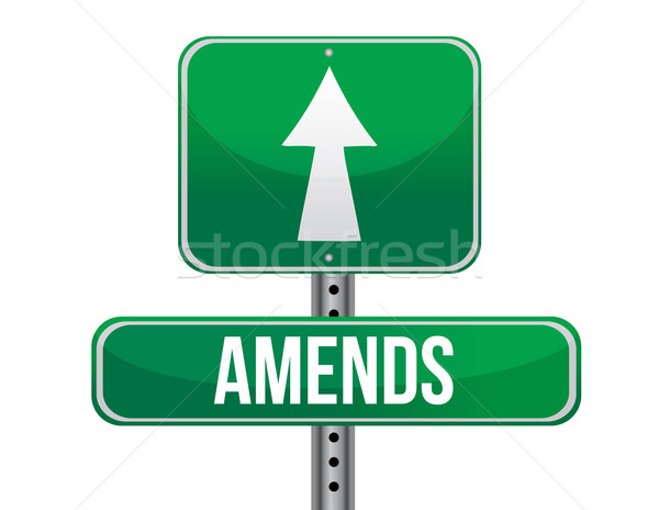 amends road sign illustration design over a white background Stock photo © alexmillos