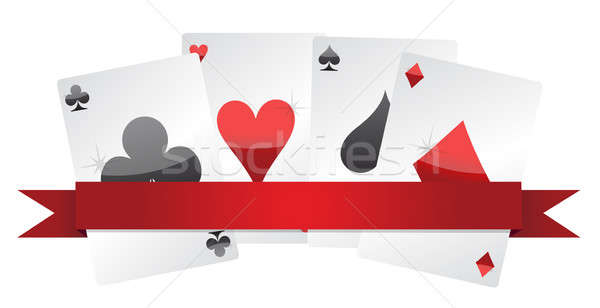 playing cards illustration design over white background Stock photo © alexmillos