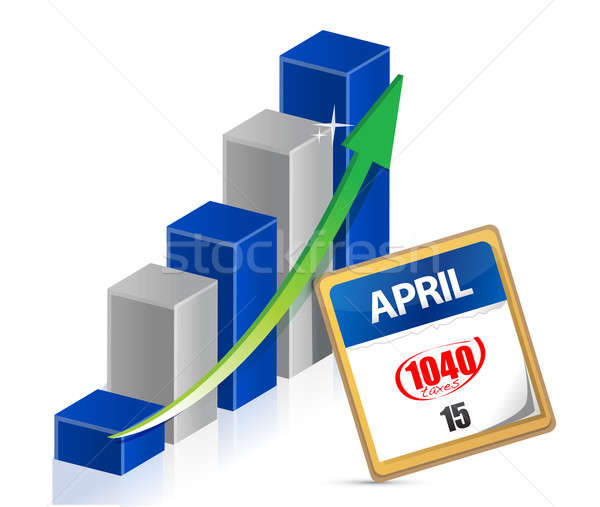 business graph and taxes april 15th on a calendar illustration Stock photo © alexmillos