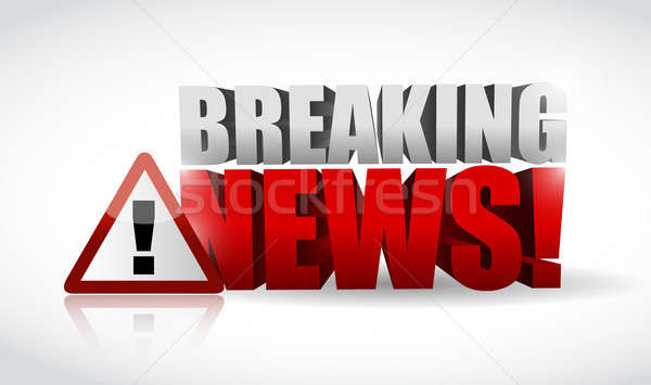 breaking news warning sign illustration design over white Stock photo © alexmillos