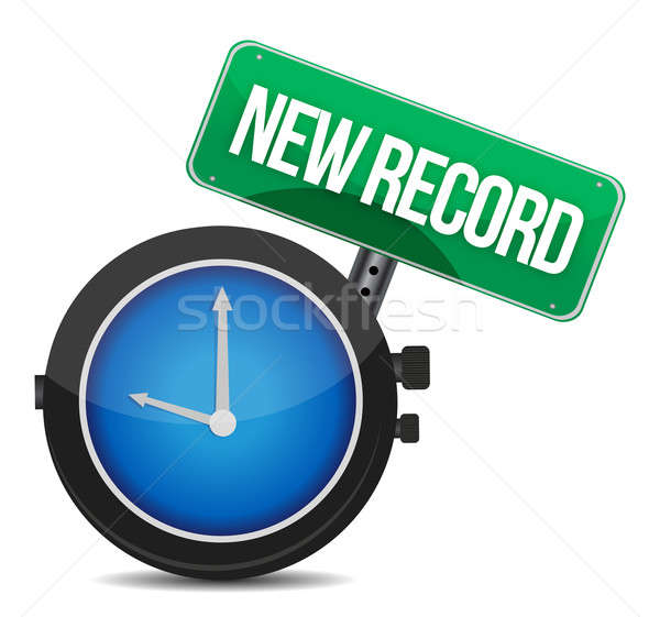 new record watch illustration design over white Stock photo © alexmillos