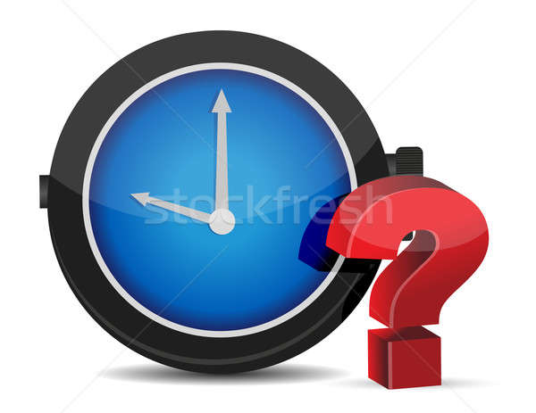 red Question Mark with Alarm Clock on a white background Stock photo © alexmillos