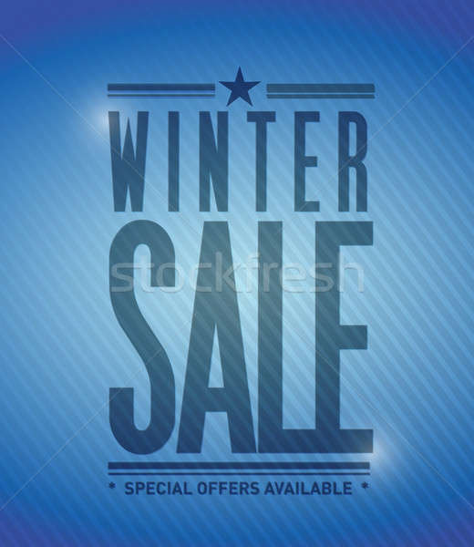 winter sale banner illustration design over a blue background Stock photo © alexmillos