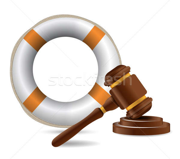 sos and gavel illustration design over a white background Stock photo © alexmillos