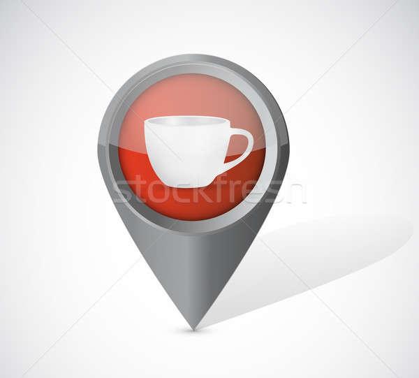 Caneca de café ilustração branco telefone mapa telefone Foto stock © alexmillos