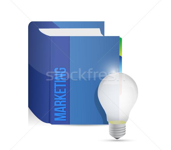 Foto stock: Marketing · livro · idéia · lâmpada · ilustração · projeto