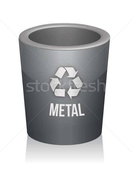 Metal recycle trashcan illustration design over white Stock photo © alexmillos
