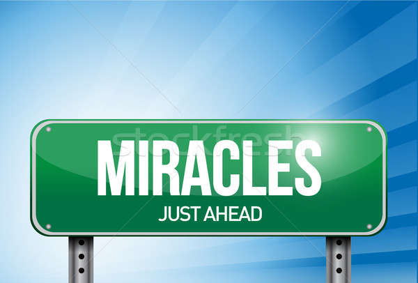 miracles road sign illustration design over a sky background Stock photo © alexmillos
