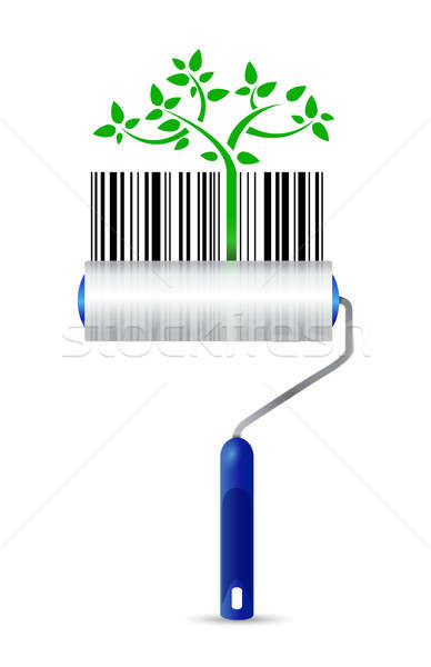 paint roller and eco upc bar code illustration design over a whi Stock photo © alexmillos