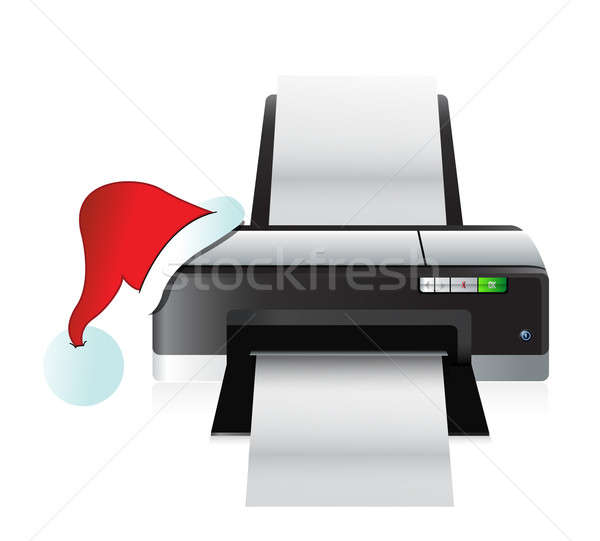 printer and christmas hat gift concept illustration design Stock photo © alexmillos