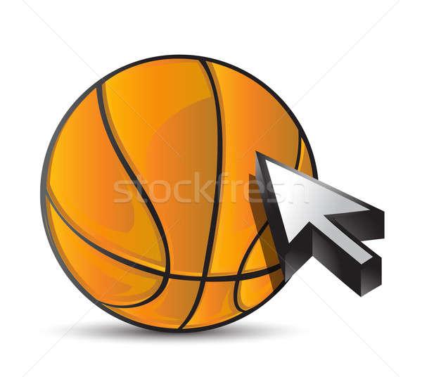 Basketball ball with cursor arrow - sport shopping  Stock photo © alexmillos