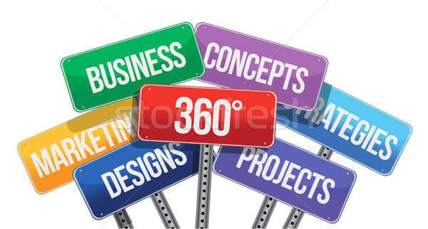 Negócio conceitos cor sinais branco livre Foto stock © alexmillos