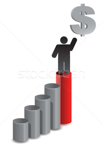 graph illustration design and dollar currency over white Stock photo © alexmillos