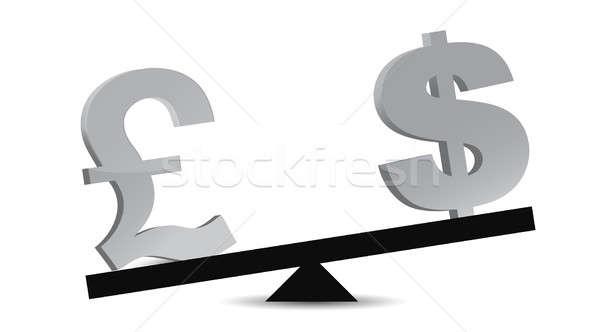 Libra dólar saldo negócio casa assinar Foto stock © alexmillos