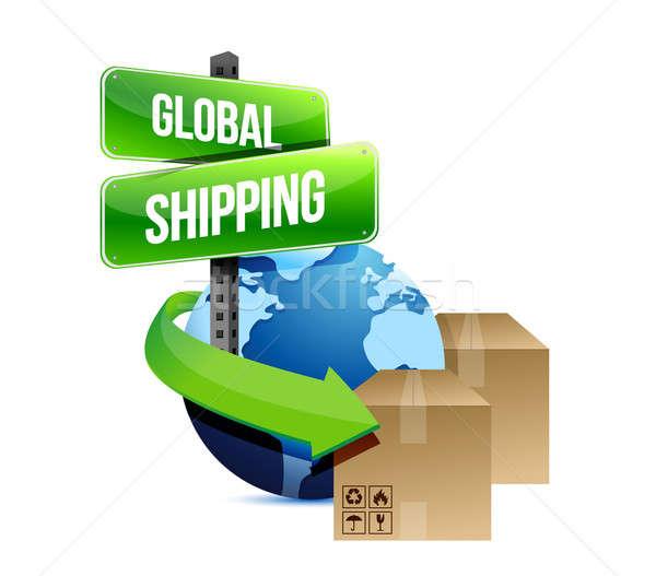 Stock foto: Internationalen · Versandkosten · Illustration · Design · weiß · Zeichen
