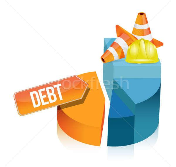 Stock fotó: Adósság · kördiagram · illusztráció · terv · fehér · út