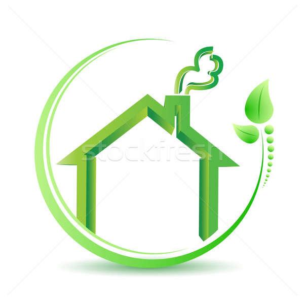 Milieuvriendelijk home milieu oplossing teken illustratie Stockfoto © alexmillos