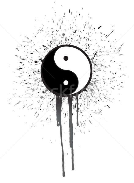 ying yang ink illustration design Stock photo © alexmillos