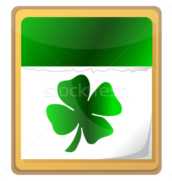 Calendar with clover leaf. St. Patrick's day icon. Stock photo © alexmillos