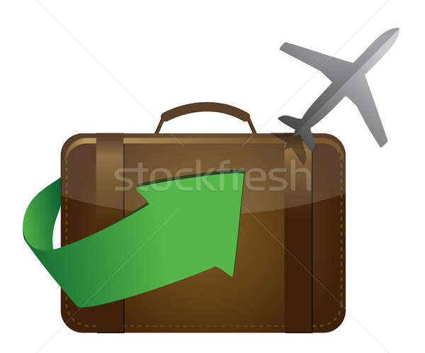 airliner and suitcase on white background Stock photo © alexmillos