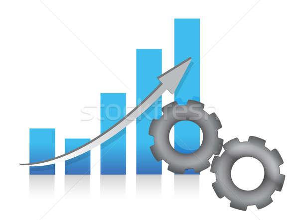 Staafdiagram productie illustratie ontwerp witte business Stockfoto © alexmillos