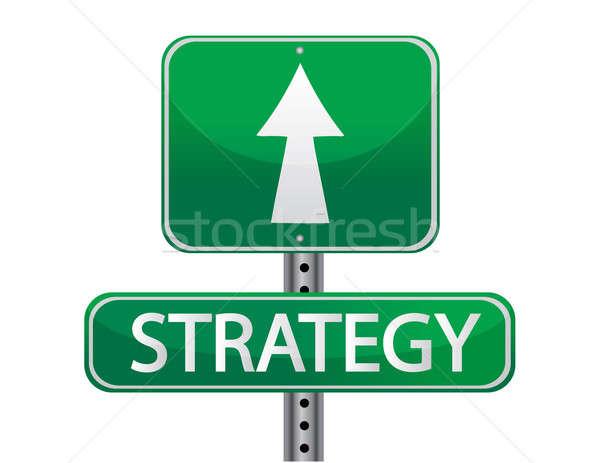 Stratégia jelzőtábla utca fém felirat utazás Stock fotó © alexmillos