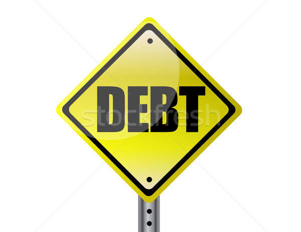Stock photo: Debt Yellow street sign isolated over white