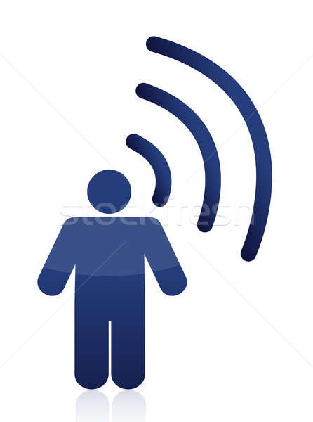 Homem símbolo wi-fi conexão sempre abstrato Foto stock © alexmillos