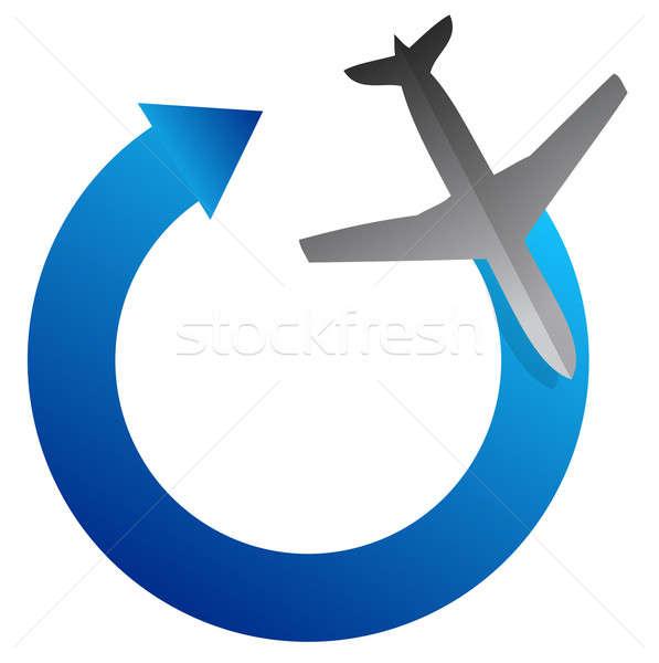 飛行機 矢印 サイクル 実例 デザイン 白 ストックフォト © alexmillos