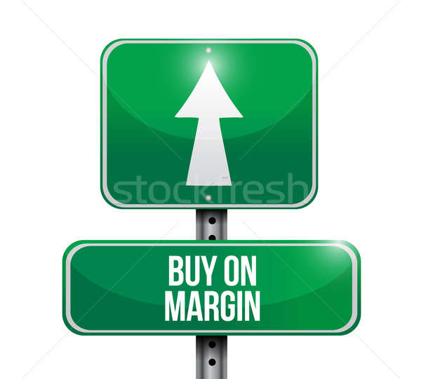 buy on margin road sign illustrations design over white Stock photo © alexmillos