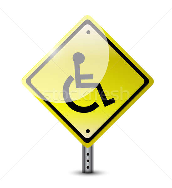 Handicap panneau routier illustration design blanche fond Photo stock © alexmillos