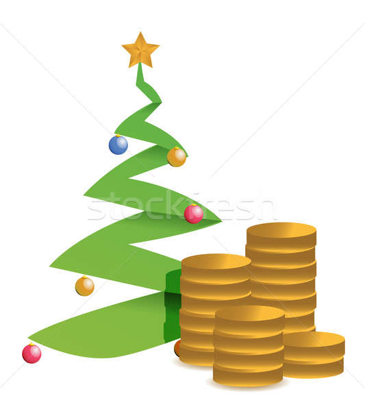 christmas tree and golden coins illustration design Stock photo © alexmillos