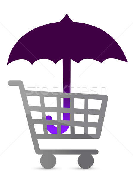 shopping protected by an umbrella illustration design Stock photo © alexmillos