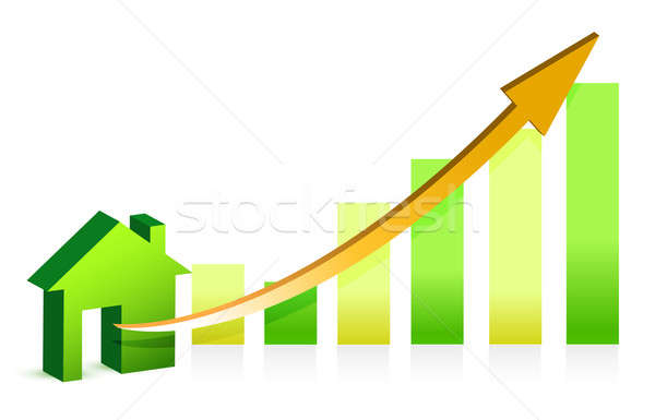 Concept rising property value illustration design over white Stock photo © alexmillos